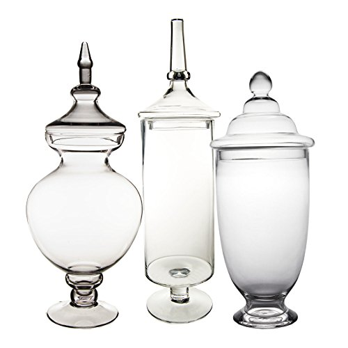 CYS EXCEL Apothecary Jars, Candy Buffet Display, Elegant Storage Jars, 3 Different Styles & Sizes, Pack of 1 Set of 3, Baby Shower Decorations, Height are 18.5