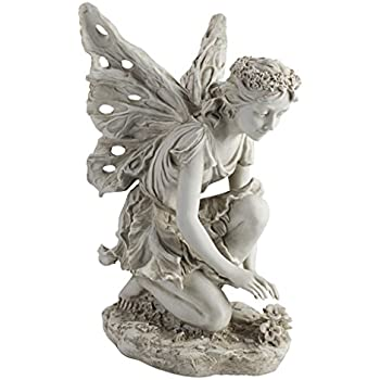 Delicieux Design Toscano KY71004 Fiona The Flower Fairy Garden Statue, 17 Inch,  Antique Stone