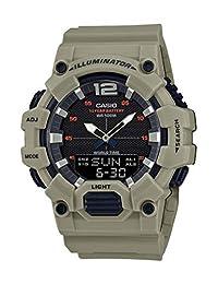 Casio Reloj casual para hombre con correa de resina de cuarzo y batería de 10 años, verde, 27.5 (modelo: HDC-700-3A3VCF)