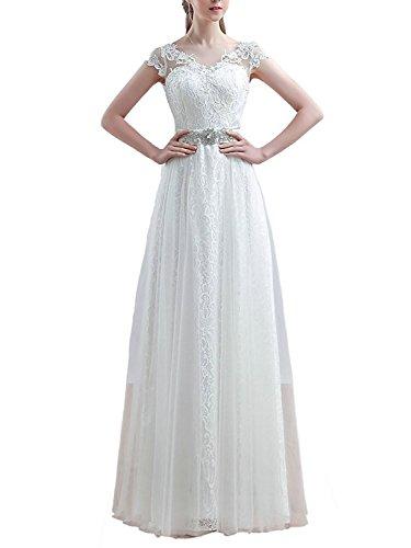 A JAEDEN Ausschnitt Ballkleid Tüll Linie Damen Weiß Lang Brautjungfernkleider Abendkleider V PBpqfFBw