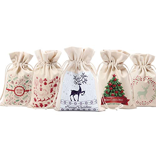 SRHOME 5 Pack Christmas Bags Santa Sack,Canvas Bag for Gifts Kids Christmas Gift,Candy,Jewelry Storage,Drawstring Bag for Storage Use--Perfect for Carry Gifts,Candies, Decoration
