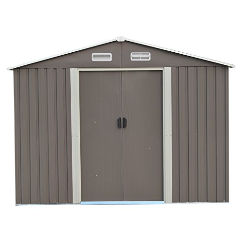 Wonlink 8 by 8-Feet Heavy Duty Outdoor Steel Garden Storage Utility Metal Shed,Backyard Lawn Building Garage Gray