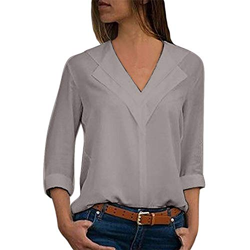 LISTHA V Neck Chiffon Blouse Women T-Shirt Office Ladies Plain Roll Sleeve Tops