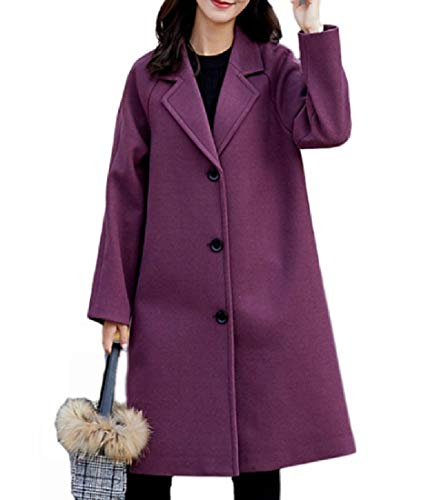 Solidit Autunno Gira giù Medio Rkbaoye Womens Coat Inverno lungo Top La Viola act4wq