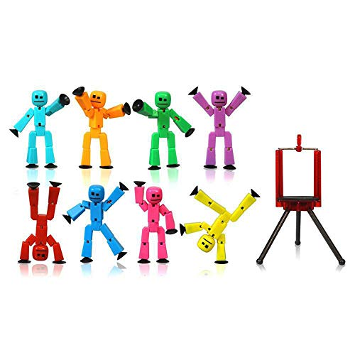 Zing Stikbot 8 Solid Pink/Yellow/Light Blue/Green/Dark Blue/Purple/Orange/Red Color and Red Tripod (TST888SCTP)