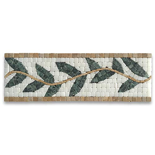 (Olive Branch Green 4x12 Marble Mosaic Border Listello Tile Tumbled)