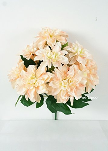 Sweet Home Deco 18'' Supper Soft Silk Dahlia Artificial Flower Bouquet for Spring Summer Home/Wedding 10 Big Flower Heads (Cream/Pink)