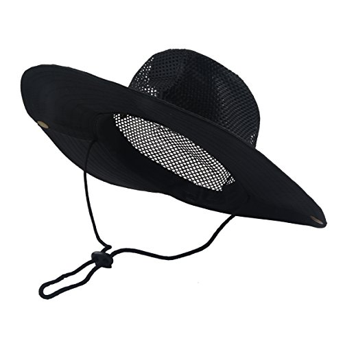 SUNLAND Men's Wide Brim Packable Sun Hat Summer Hat Bucket Safari Cap Perfect for Fishing Gardening Hiking Camping Outdoor Black