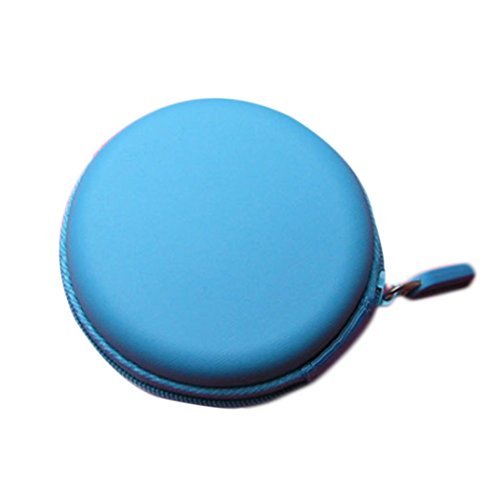 Binmer(TM)New Colourful Portable Mini Round Hard Storage Case Bag for Earphone Headphone Earbuds SD TF Cards (SkyBlue)