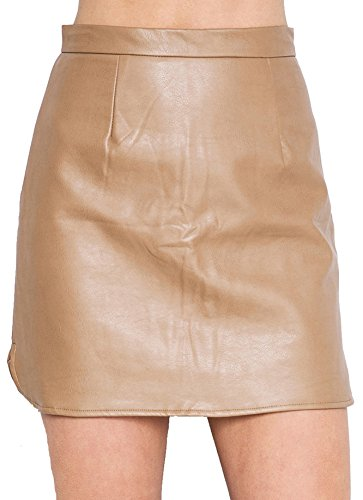 U-shot Lady de piel sintética Slim Fit vestido de oficina de cóctel corto falda Beige