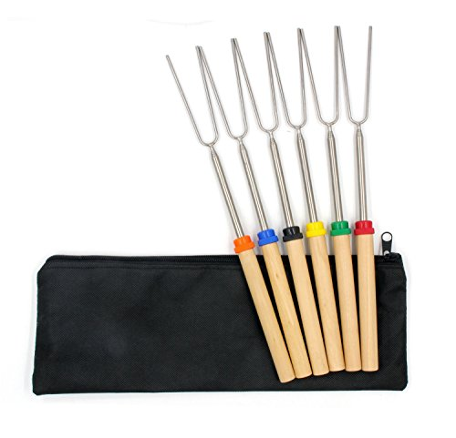 Grillgo 30 Inch Marshmallow Roasting Sticks, Telescoping Extendable Hot Dog Campfire Forks with Bag-Set of 6 by Grillgo