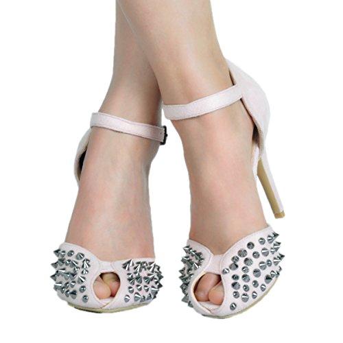 Kolnoo Womens Handcrafted High Heel Rivets Spikes Buckle Strap Summer Sandals Pink BwqmTDaCe