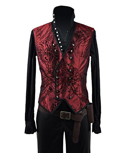 Very Last Shop Hot Fairy Tale TV Series Pirate Captain Costume Men's Halloween Pirate Costume Red Vest (US Men-L, Black & Red) by Very Last Shop (Image #5)