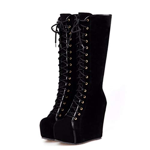 Women Wedge Knee High Boots Hidden High Heels Platform Winter Shoes Casual Round Toe Lace-up Boots