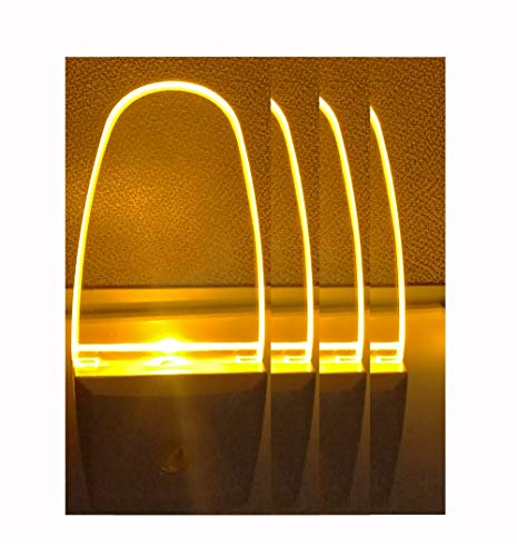 Plug in LED Night Light Lamp 4 Pack with Light Sensor Amber