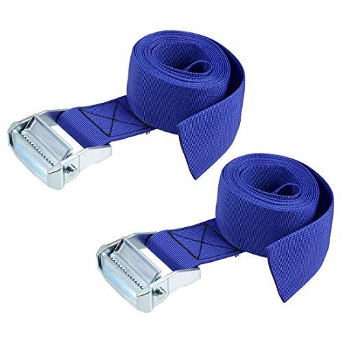 uxcell 荷物ストラップ ラッシングストラップ ベルト 荷物固定ロープ 荷物落下防止 2.5Mx5cm 500Kg ブルー タイダウンストラップ 2個入り