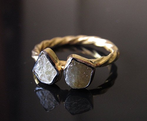 Yellow Raw Diamond Engagement Ring, Gold Wedding Band, Sterling Silver Ring, Solitaire Uncut Diamond Ring, Statement Ring