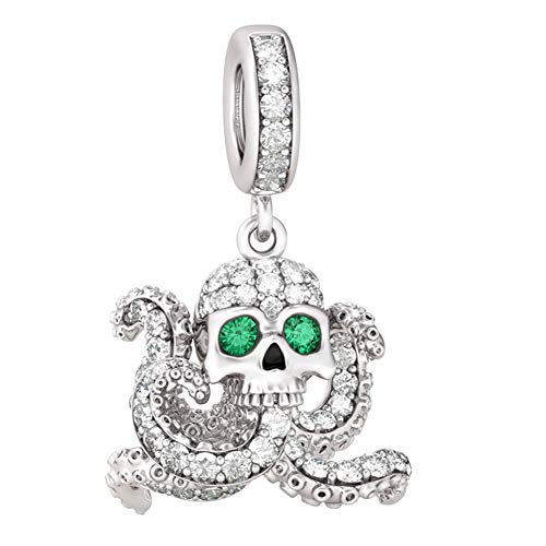 GNOCE Octopus Skull Charms The Call of Cthulhu Octopus with Skull Head and Green Eyes Pendant Charm Sterling Silver with Cubic Zirconia Dangle Charms for Bracelets Necklace
