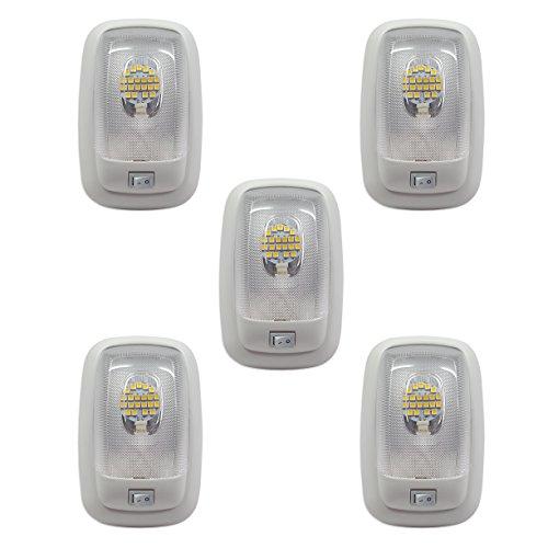 5 RV LED 12v FIXTURE SINGLE DOME PANCAKE LIGHT 3200K WARM...