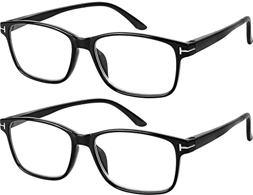 Computer Glasses 2 Pairs Anti Glare Anti Reflection Classic Reading Glasses Quality Comfort Glasses for Men and Women - Reflection Glasses