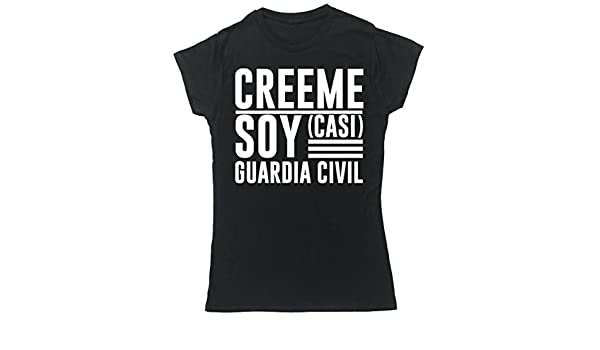 HippoWarehouse Créeme Soy (Casi) Guardia Civil camiseta manga corta ajustada para mujer: Amazon.es: Ropa y accesorios