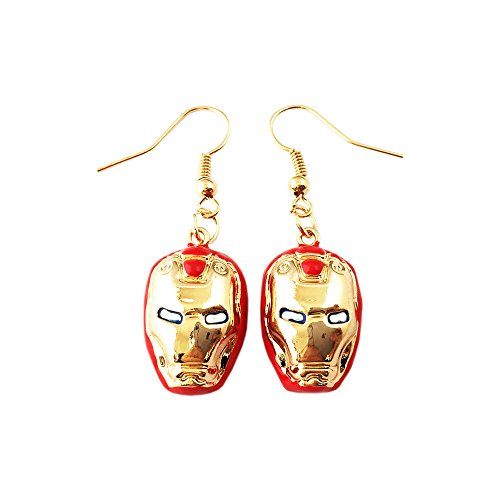 Marvel Iron Man Red & Gold Mask Logo Earring Dangles In Gift Box from Outlander