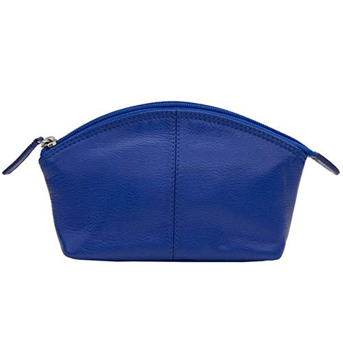 (CCFW Womens 100% m Genuine Leather Cosmetic Pouch (Cobalt Blue))