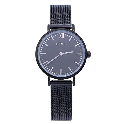 NICERIO Women Wrist Watch Stainless Steel Graceful Bracelet Quartz Watch Wristwatch (Black) by NICERIO