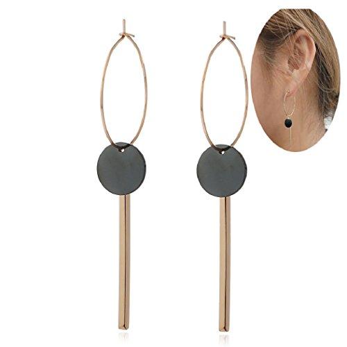 SUNSCSC Stainless Steel Vintage Punk Geometric Rectangle Sequins Drop Bar Dangle Earrings for Women (Sequins 606) (606 Bar)