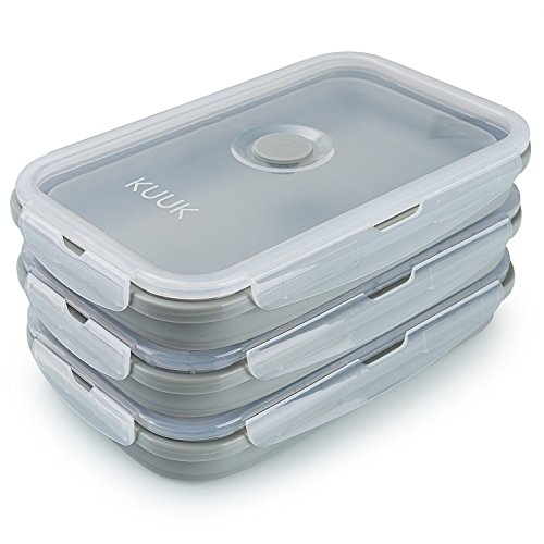KUUK Collapsible Silicone Food Storage Container Perfect for Meal Prep, Lunch Box, Leftovers - XL Size (42 oz), 3 Pack ()