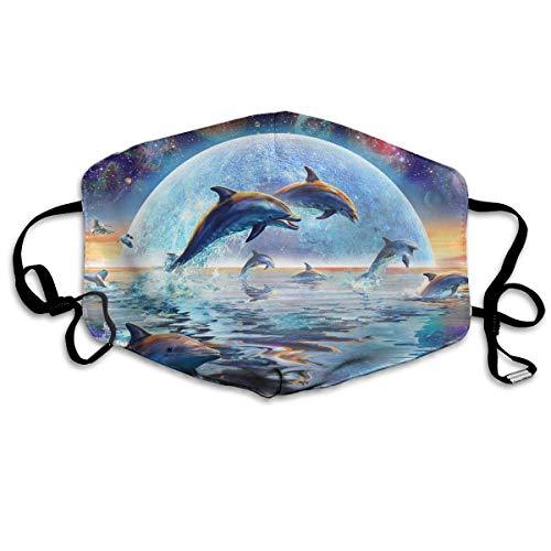 OGFIKV Moonlight Dolphins Face Mask Anti Dust Breathable Earloop Face Flu Mask (Moonlight Dolphin)