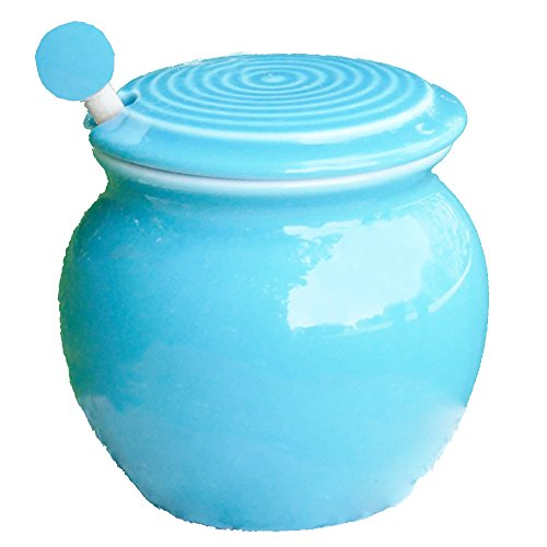 Light Blue Porcelain (Cottage Creek - Honey Dispenser - Light Blue Porcelain Honey Jar With Lid - Wooden Honey Dipper Included - Gifts For Women - Kitchen Gifts - Mom Gifts)