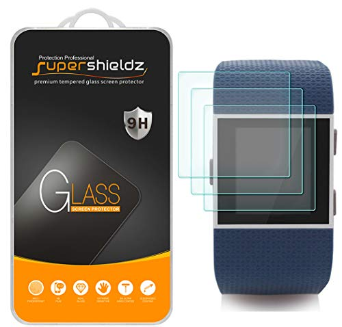 Supershieldz [3-Pack] for Fitbit Surge Fitness Superwatch Tempered Glass Screen Protector, Anti-Scratch, Anti-Fingerprint, Bubble (Best Screen Protector For Fitbit Surges)