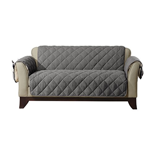 SureFit Flannel/Sherpa - Loveseat Slipcover - Gray