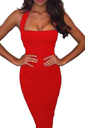 Prograce Red Slim Fit Halter Bodycon Bandage Cocktail Club Midi Dress for Women S