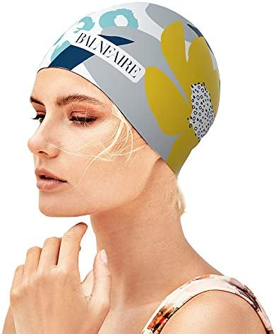 BALNEAIRE Silicone Long Hair Swim Cap for Women,Waterproof Lotus Pattern Swimming Cap