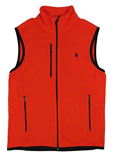 Ralph Lauren Men's Micro Fleece Mock Neck Vest-Orange-Small