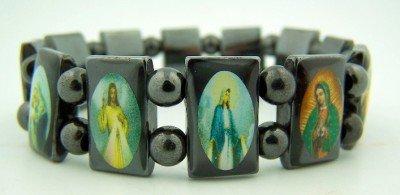 Hematite Devotional Stretch Religious Bracelet product image