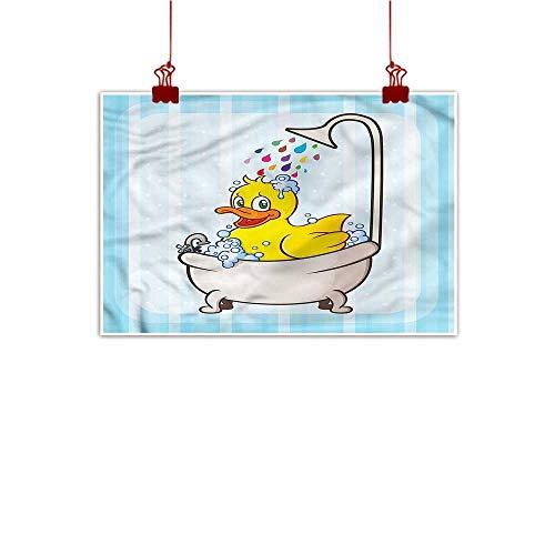 (Sunset glow Outdoor Nature Inspiration Poster Wilderness Duck,Cartoon Mascot in Bathtub 20