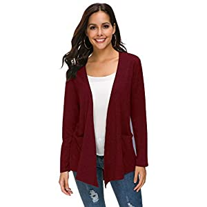 TownCat Womens Cardigans Loose Casual Long Sleeved Cardigans Comfy Open Front Cardigans with Pockets