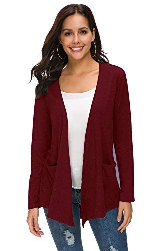TownCat Womens Cardigans Loose Casual Long Sleeved Cardigans Comfy Open Front Cardigans with Pockets (XL, WineRed) (Chiffon Pocket)
