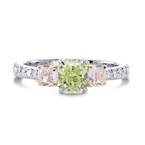 1.67Cts Green Diamond Engagement Ring Set in Platinum GIA Certificate Size 6.25