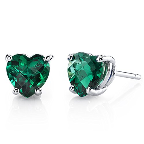 14 Karat White Gold Heart Shape 1.50 Carats Created Emerald Stud Earrings