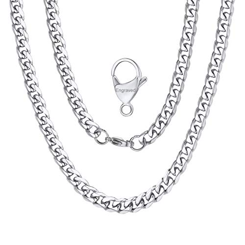 Stainless Steel Curb Cuban Chain 6mm 18inch Mens Engraved Name Necklace Silver Color