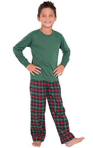 - PajamaGram Holiday Plaid Flannel Christmas Pajamas, Red/Green, Big Boys' 6
