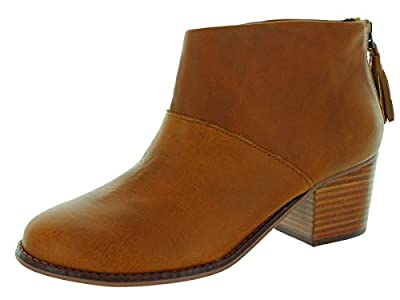 TOMS Women's Leila Booties Warm Tan Leather Boot