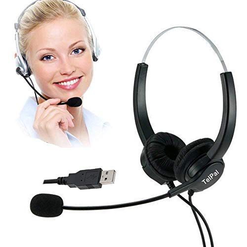 TelPal Corded Hands-Free Call Center Noise Cancelling Corded Binaural Headset Headphones with Mic - Cord with USB Plug, Volume Control- for Computer/PC/Laptop Use Only