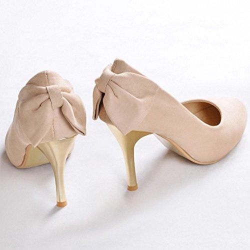 41180f273c5 ... COOLCEPT Mujer Moda Tacon De Aguja Bombas Zapatos Sin Cordones Zapatos  Tacon Alto Delgado Albaricoque ...