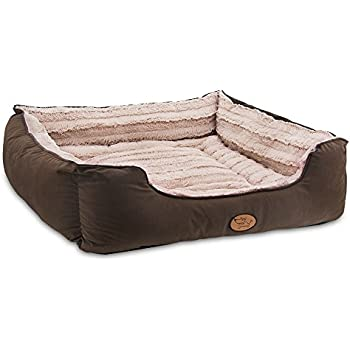 Best Pet Supplies - Premium Faux Leather Polyester Filled Plush Square Bed for Dog and Cat - X-Large, Dark Brown
