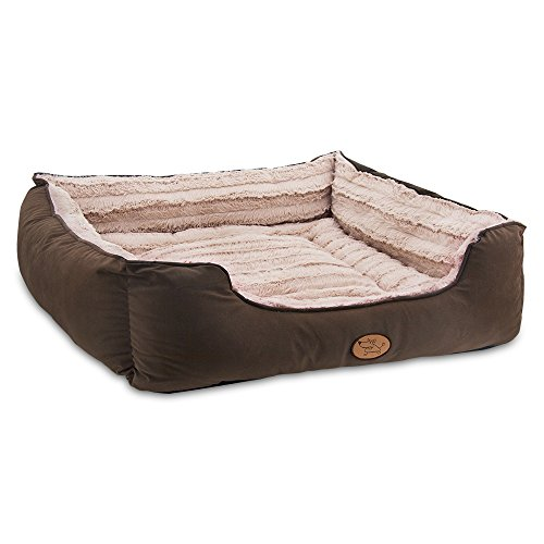 Best Pet Supplies Premium Plush Suede Bed for Dogs & Cats - Dark Brown, XL (30 x 28 x 8.5 inches)